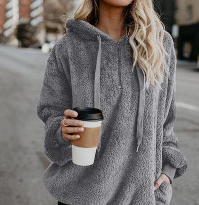Plus Size Autumn Winter Women Casual Solid Zipper Long Sleeve Sweatshirt Long Sleeve Plush Fluffy Hoodies Fleece Pullover HD0789