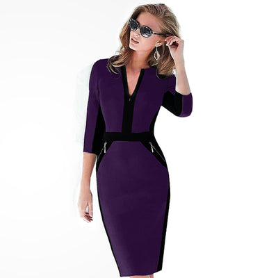 Plus Size Front Zipper Women Work Wear Elegant Stretch Dress Charming Bodycon Pencil Midi Spring Business Casual Dresses 837
