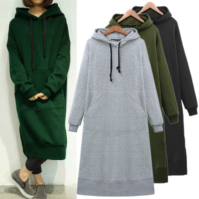 Plus Size Winter Warm New Fashion Women Long Sleeve Loose Hoodies Casual Womens Long Loose Hooded Sweatshirts Long Tops