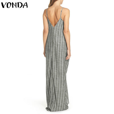 Plus Size Women Dress Summer Sexy V Neck Backless Striped Sarafans Long Maxi Tank Dresses Vintage Casual Loose Vestidos