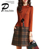 Plus Size Women Fashion O-Neck Plaid Stitching Hit the High Waist Ladies Autumn Winter Long Sleeve Turtleneck A-Line Dress