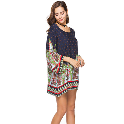 Plus size 3XL WOMEN Clothing summer long sleeve beach mini dress floral print vintage Straight flare hippie boho Sundresses