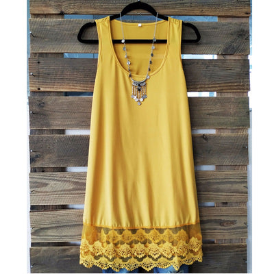 Plus size 5xl women sleeveless summer sundress Casual mini dress Hem lace decoration a line dress white yellow loose shift dress