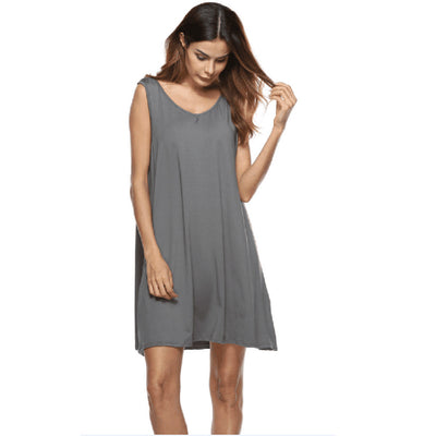 Popular Plu Size Summer Dress Sleeveless O-neck Casual Dress Backless Dress Woman Party Night Vest Fashion High-grade