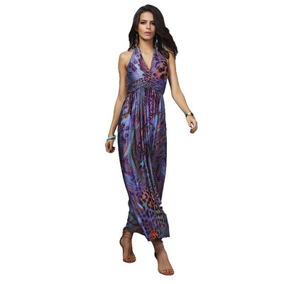 Print Pattern Chiffon Beach Dress Women Deep V Neck Halter Backless Sleeveless Vestidos Sexy Loose Bohemian Long Dress HM056