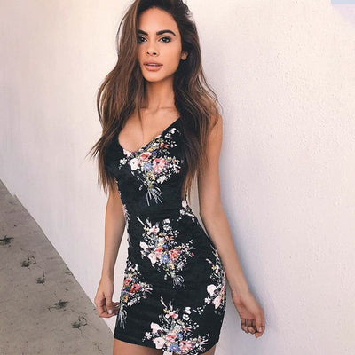 Printed Floral Sexy Backless Dress Women Sleeveless Cross Bandage Bodycon Mini Sheath Pencil Summer Dress Lace Up Party Dresses