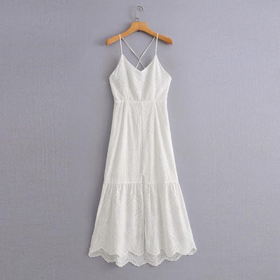 QZ953 Women Spaghetti Strap Lacing Slim Backless Hollow Out Embroidery Dress Long White Vestidos Beach Clothing