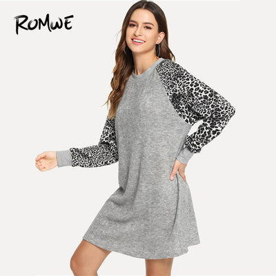 ROMWE Grey Contrast Panel Leopard Print Dress Women Clothes Autumn Long Sleeve Casual New Design Clothing Sweatshirt Dress