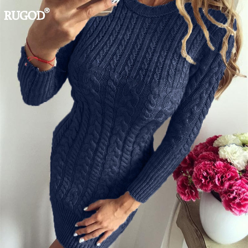 RUGOD 2018 New Autumn Winter Warm Sweater Dress Women Sexy Slim Bodycon  Dress Female O neck 6e7f09f83a68