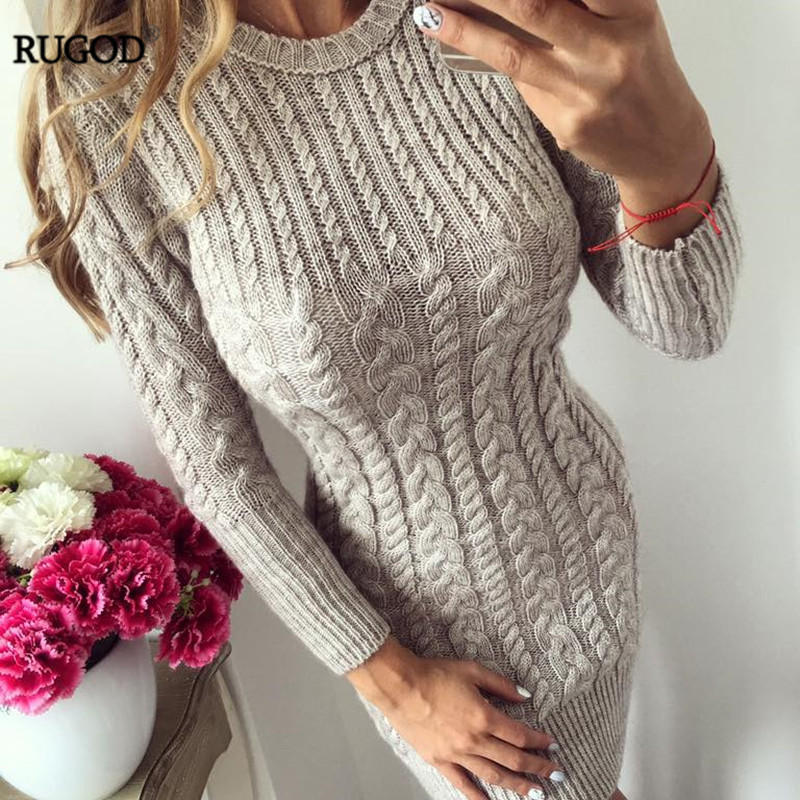 85f33402bef RUGOD 2018 New Autumn Winter Warm Sweater Dress Women Sexy Slim Bodycon  Dress Female O neck Long Sleeve Knitted Dress Vestidos