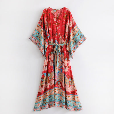 Red Kimono Gown Floral Print Maxi Dress Loose Kimono Sleeves Casual Beach Dresses Boho People Hippie Long Dress Vestido Holiday