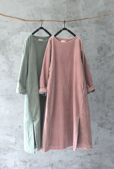Retro Corduroy Thicken Women Dress Robe Gown Vestidos Hippie Boho Ethnic Tunique Femme Harajuku Winter Mori Girl Cotton Dress
