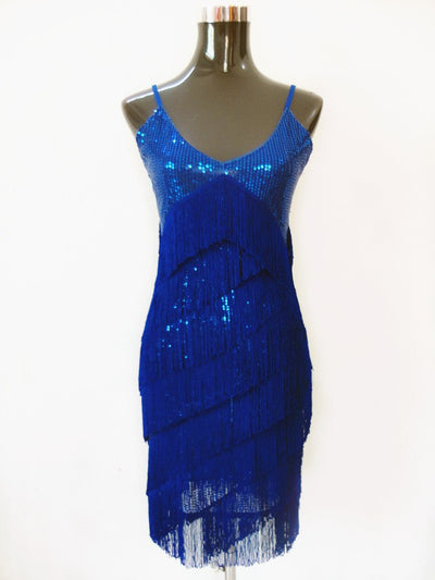 Roaring 1920s Flapper Dress Costumes Great Gatsby Party Dress V-Neck Backless Spaghetti Strap Fringe Mini Dance Dress