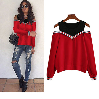 Rogi Female Jumper Sweatshirt Off Shoulder Patchwork Hoodies Top Autumn Winter Crew Neck Pullovers Tracksuit Ladies Tops