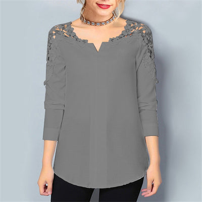 Rogi Summer Lace Chiffon Blouse Women Long Sleeve V-Neck Casual Shirt Tops Elegant Office Ladies Blouses Blusa Mujer Plus Size