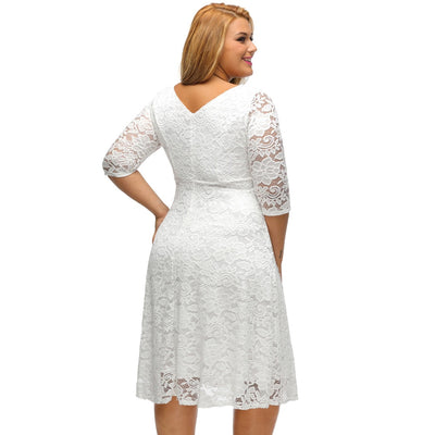 Romacci Women White Lace Dresses 2018 High Quality Floral 3/4 Sleeve A-Line  Plus Size Dress Female V Zip Back Black Party Dress