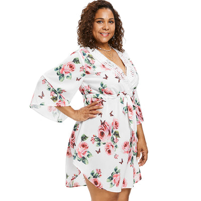 Rosegal Plus Size Floral Print Dress Women Sexy Plunging Neck 3/4 Sleeves A-Line Dress Vestido Autumn Summer Dresses Casual Robe