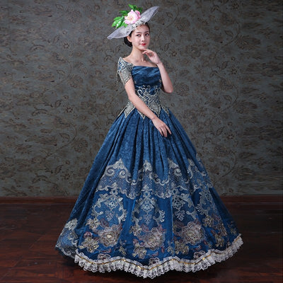 Royal Blue Gothic Lace Evening Gown Reenactment Victorian Dress Prom Gown Hat Theater Women Clothing