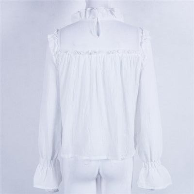 Ruffles loose Long sleeve blouse for women autumn Summer Top Women White Fashion Ruffles Blouses blusas mujer de moda