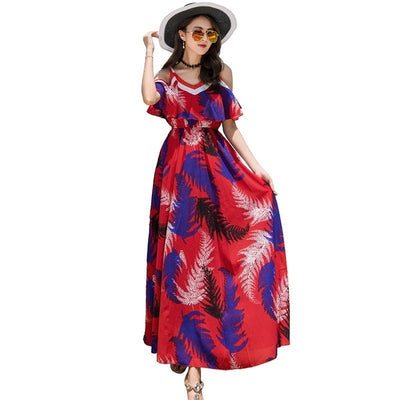 Ruiyige Sexy Summer Bench Floral Print Maxi Dress Chiffon Off The Shoulder Holiday Backless Dresses Women Long Sundress Vestidos