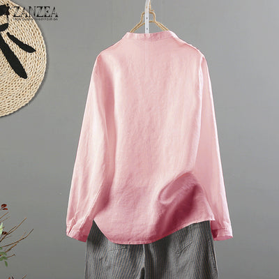 S 5XL ZANZEA Vintag Pleated Party Blusas Women Casual Long Sleeve Cotton Linen Loose Elegant Work OL Autumn Shirt Blouse