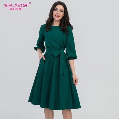 S.FLAVOR Women Fashion vintage Dress Green O-Neck Elegant A line dress puff sleeve vestidos Party autumn dress no pocket