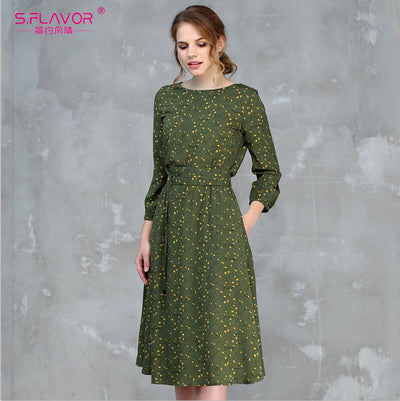 S.FLAVOR Casual Women Spring Summer A-line Dress O-neck Three Quarter Sleeve Knee-length Dress Female Elegant Printing Vestidos