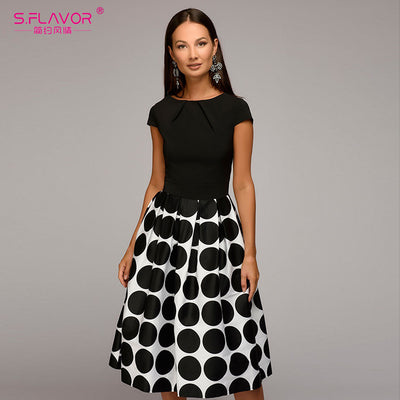 S.FLAVOR Vintage style women wave point dress short sleeve patchwork A-line short dress Casual women autumn vestidos
