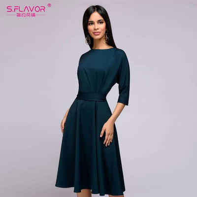 S.FLAVOR Women autumn winter dress New arrivel solid color O-neck casual dress for female Loose style women vestidos with belt