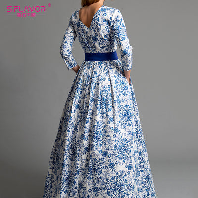 S.FLAVOR blue printing party long dress Elegant women three quarter sleeve backless sexy vestidos female bohemian Women dress