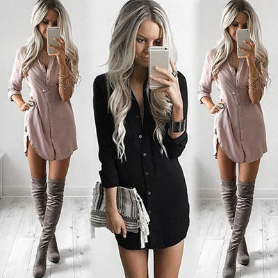 S-XL Office Lady Women Long Sleeve Shirt Casual Full Sleeve Solid Loose Autumn Dresses Fashion Tops Mini Short Dress Sundress