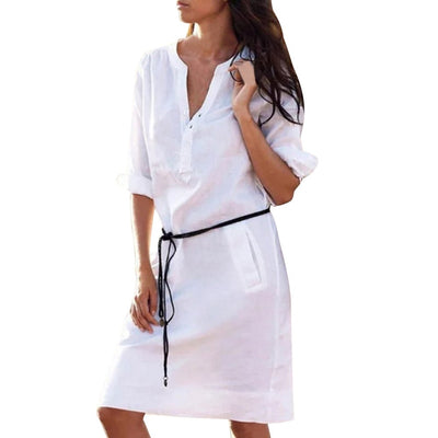 S-XL Woman Casual Half Sleeve Buttons V-Neck Mini Dress with Belt Loose Pockets Work Office Dresses Vestidos