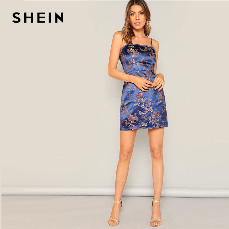 dcf8432f4e92 SHEIN Navy Silky Floral Jacquard Spaghetti Strap Slim Fit Cami Dress Women  Summer Sexy Night Out