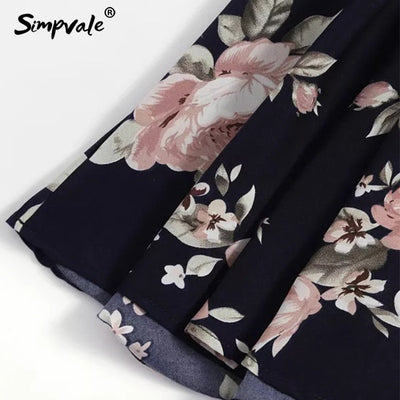 SIMPVALE Floral Print Straps Mini Dress Female V Neck Pleated Elegant Elastic Waist Dresses Vacation Chic Backless Dress Women