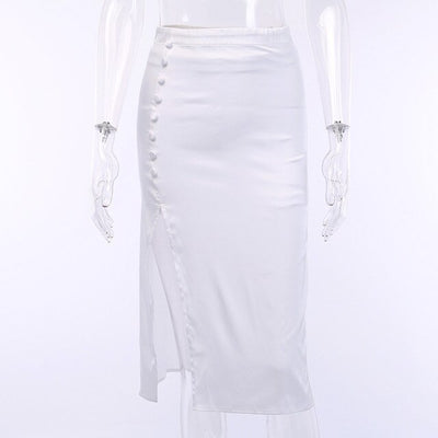 Saias Na Altura Do Joelho Black White Skirt Buttoned Satin Ruffled Vintage Gonne Donna Split Harajuku Skirt Faldas Cortas