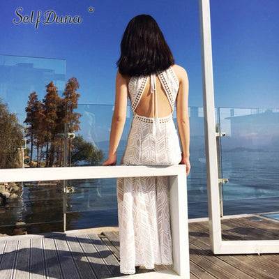 Self Duna Summer Sexy Backless Dress Women White Lace Dress Tassel Split Hollow Out Off Shoulder Long Maxi Beach Dress