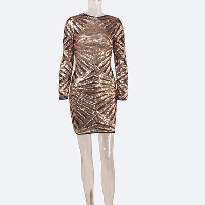 Sequined O Neck Backless Dresses Women Vintage Evening Party Long Sleeve Sequins Dress Nightclub Short Mini Bodycon Mini Dress