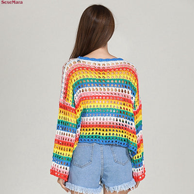 SexeMara Fashion new style Loose Hollow Weaving stripe rainbow sweater