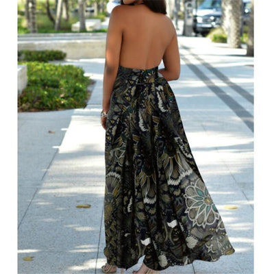 Sexy Backless Dress Women Fashion Women Boho Floral Long Maxi Dress Sleeveless Party Summer Beach Sundress Vestidos