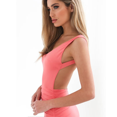Sexy Backless Dress Women Mini Club Party Dresses Slim Short Pencil Bandage Bodycon Dress Vestidos Candy Color AQ962950