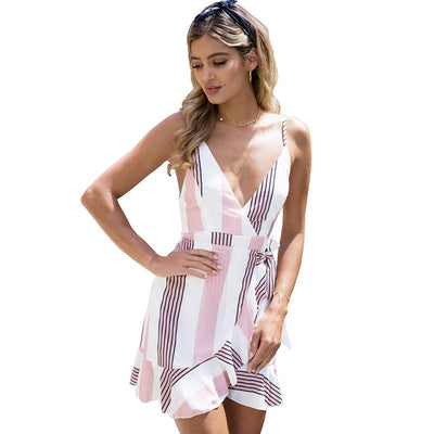 Sexy Backless Dress Women Strap Summer Striped Sleeveless Vestidos Verano Sashes Print Asymmetric Beach Dresses Mini Yellow