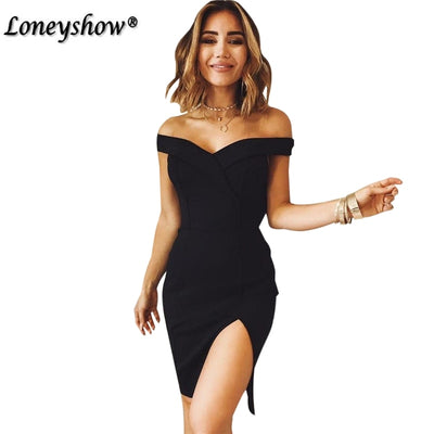 Sexy Backless Dress Women Summer Club Party Dresses Short Sleeve Slash Neck Off Shoulder Bodycon Dress Black Red