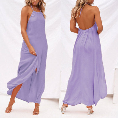 Sexy Backless Dress Womens Solid Color Halter Ladies Summer Beach Party Dress Sleeveless Vintage High- Slit Dress Vestidos H4Z5