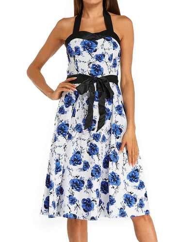 Sexy Backless Dresses Women Causal Sleeveless Princess Midi Dress Summer Floral Print Strap Party Cut Dress Vestidos Robe Femme