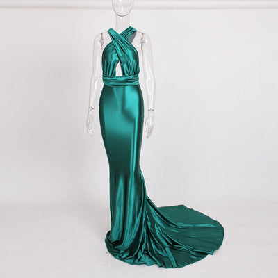 Sexy Backless Shiny Satin Deep V Neck Bodycon Mermaid Party Dress Halter Floor Length Maxi Dress Burgundy Gold Blue Green Black