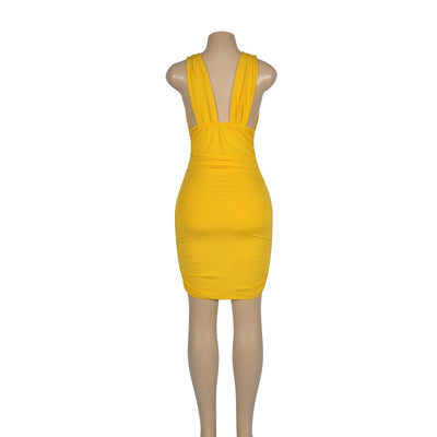 Sexy Bodycon Bandage Dress Women Summer Deep V-Neck Sleeveless Dresses Party Night Club High Waist Ladies Backless Vestidos