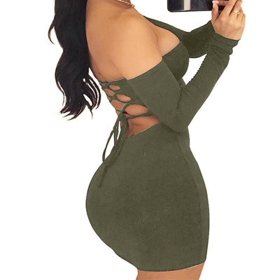 Sexy Bodycon Dress Lace Up Backless Dress Women Off Shoulder Stretch Bandage Robe Female Party Dress Clubwear WS2856X