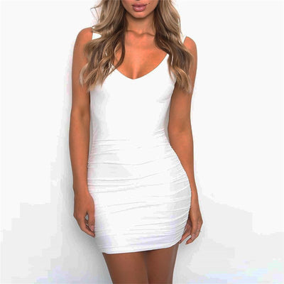 Sexy Deep V Neck Backless Dress Women Bodycon Sleeveless Pleated Mini Pencil Dress Party Casual Beach Club Summer Short Vestidos