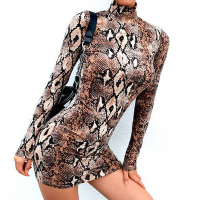 Sexy Dress New Style Women Animal Snake Skin Print Bodycon Tunic Dress Stretch High Neck Mini Dress