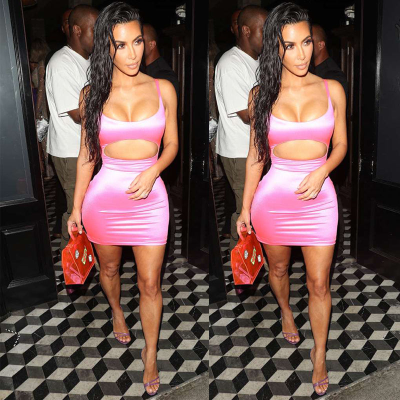 9ee0f9e5cefa Sexy Dress Club Wear Women Bandage Dress Vestidos 2019 Pink Cut Out Dress  Party Sleeveless Bodycon